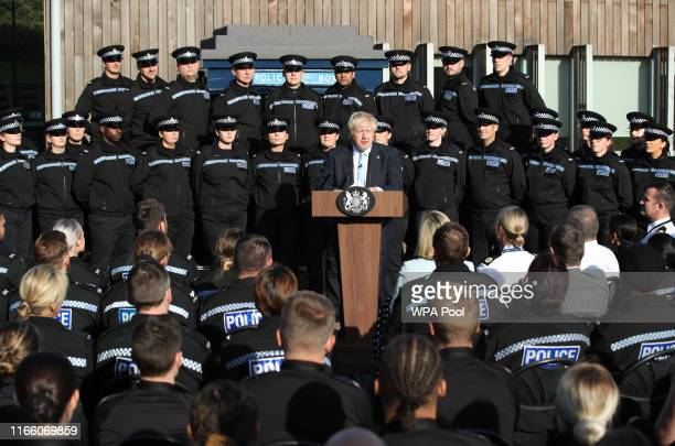 Prime Minister Boris Johnson gives a speech to police officers during a visit on September 05 2019 in West Yorkshire United Kingdom The government...