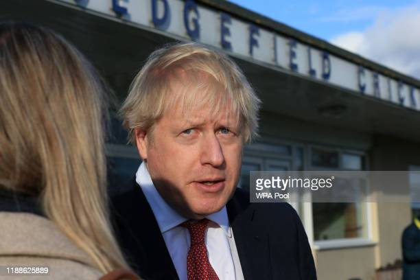 Prime Minister Boris Johnson gives an interview during a visit to meet newly elected Conservative party MP for Sedgefield, Paul Howell at Sedgefield...