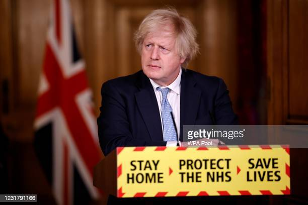 Prime Minister, Boris Johnson gives an update on the coronavirus Covid-19 pandemic during a virtual press conference inside 10 Downing Street on...