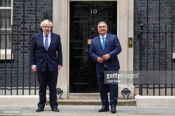 Prime Minister Boris Johnson greets Hungarian Prime Minister Viktor Orbán at Downing Street on May 28, 2021 in London, England. Hungarian Prime...