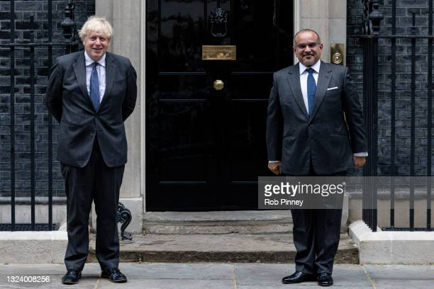 Prime Minister Boris Johnson greets the Crown Prince and Prime Minister of Bahrain, HRH Prince Salman bin Hamad Al Khalifa , at Downing Street on...