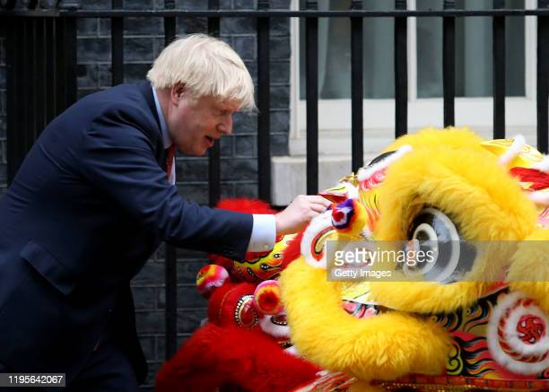 Prime Minister Boris Johnson hosts Chinese New Year celebrations outside 10 Downing Street on January 24, 2020 in London, England. The lunar new...