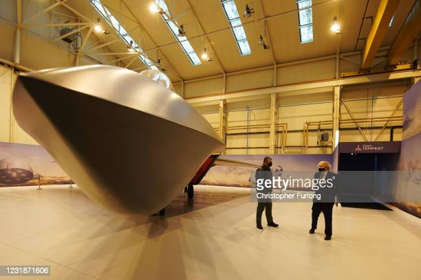 Prime minister Boris Johnson is shown around the Team Tempest facility during a visit to BAE Systems at Warton Aerodrome on March 22, 2021 in...