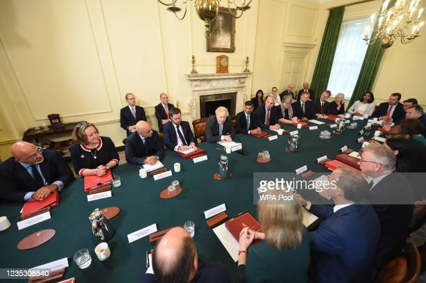 Prime Minister Boris Johnson leads the first post-reshuffle cabinet meeting in Downing Street on September 17, 2021 in London, England.