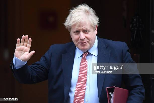 Prime Minister Boris Johnson leaves 10 Downing Street for PMQ's on March 25, 2020 in London, England. British parliament will be suspended tonight...