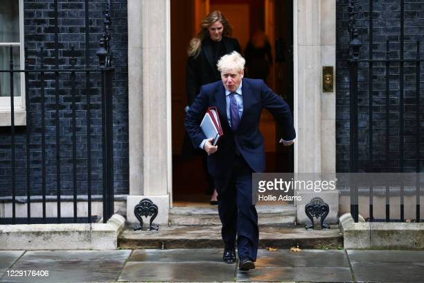 Prime Minister Boris Johnson leaves 10 Downing Street for the weekly cabinet meeting on October 20 2020 in London England Boris Johnson could impose...