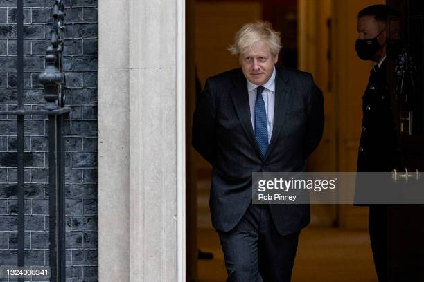 Prime Minister Boris Johnson leaves 10 Downing Street on June 17, 2021 in London, England. Boris Johnson welcomes the Crown Prince and Prime Minister...