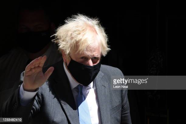 Prime Minister Boris Johnson leaves 10 Downing Street to attend PMQ's on June 16, 2021 in London, England. Mr Johnson attended the weekly Prime...