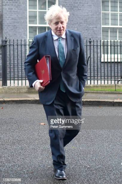 Prime Minister Boris Johnson leaves Downing Street for a Cabinet Meeting at the FCO, on December 15, 2020 in London, England. Ministers may review...