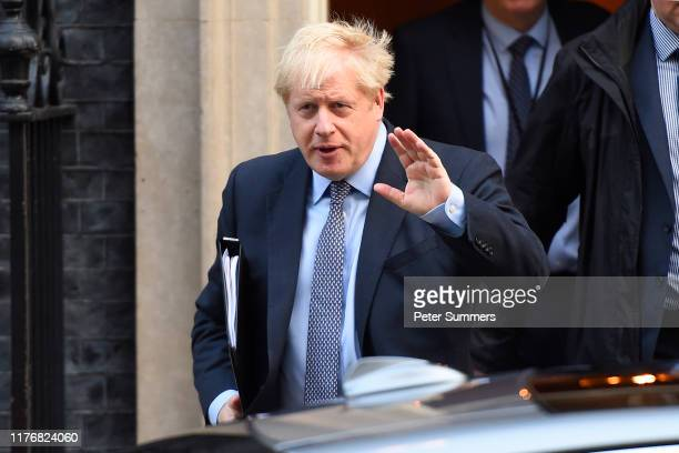 Prime Minister Boris Johnson leaves Downing Street for the House of Commons on October 19, 2019 in London, England. Parliament is sitting on a...