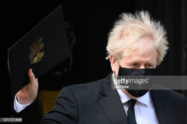 Prime Minister Boris Johnson leaves number 10, Downing Street ahead of tribute session in the House of Commons for Prince Philip, Duke of Edinburgh...