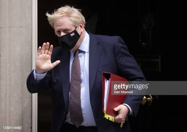 Prime Minister, Boris Johnson leaves number 10 Downing Street for Prime Minister's questions on May 26, 2021 in London, England. The prime minister...