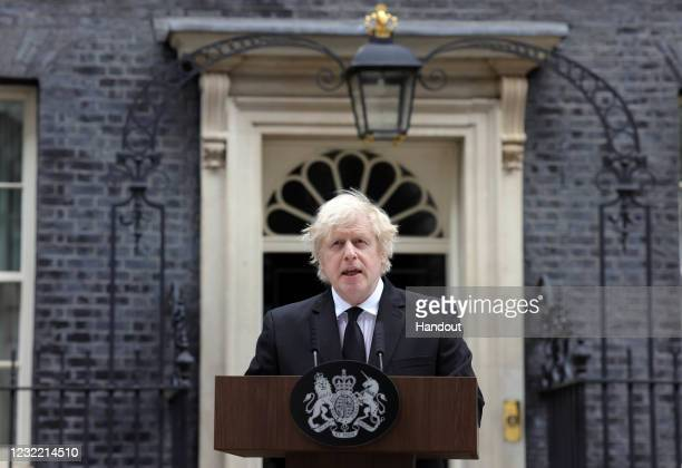 Prime Minister Boris Johnson makes a statement in Downing Street on the death of HRH The Prince Philip, Duke of Edinburgh, on April 09, 2021 in...
