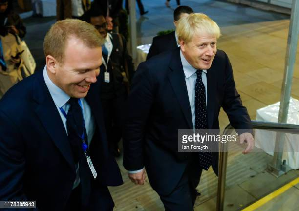 Prime Minister Boris Johnson makes his way to a social engagement on the evening of third day of the Conservative Party Conference at Manchester...