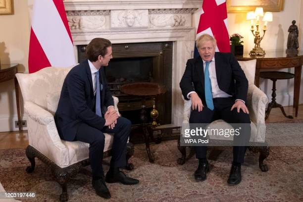Prime Minister Boris Johnson meets Austria's Chancellor Sebastian Kurz inside number 10 Downing Street on February 25, 2020 in London, England.