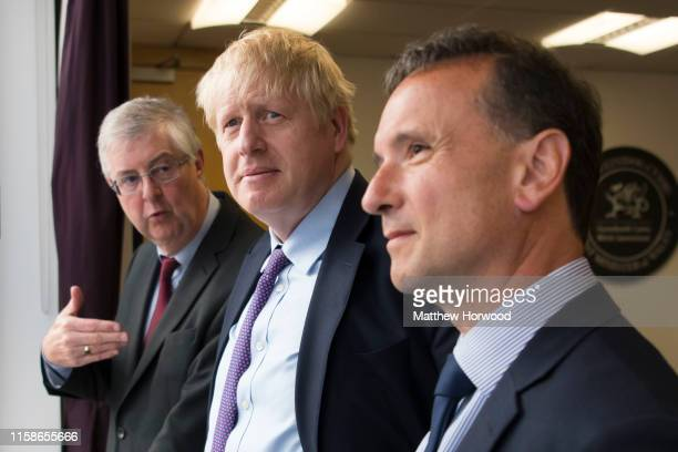 Prime Minister Boris Johnson meets First Minister of Wales Mark Drakeford and Secretary of State for Wales Alun Cairns in the First Ministers office...