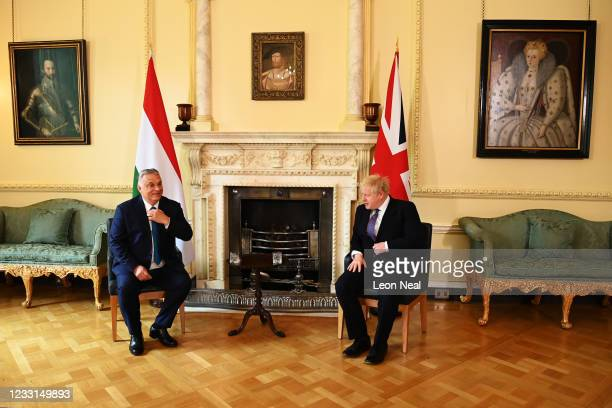 Prime Minister Boris Johnson meets Hungarian Prime Minister Viktor Orbán at Downing Street on May 28, 2021 in London, England. Hungarian Prime...