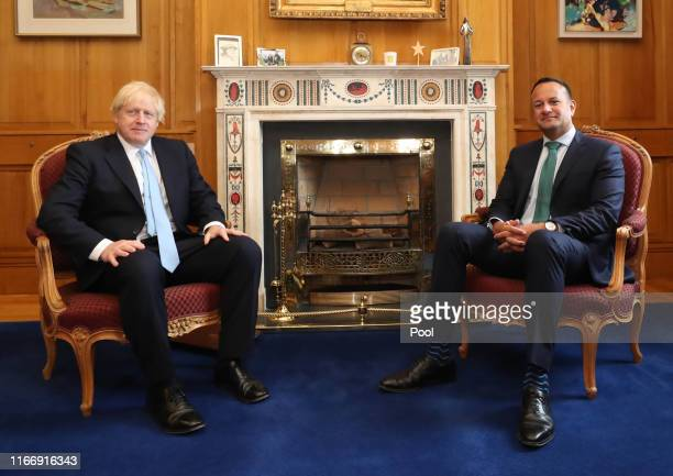 Prime Minister Boris Johnson meets Taoiseach Leo Varadkar in Government Buildings during his visit on September 9 2019 in Dublin Ireland