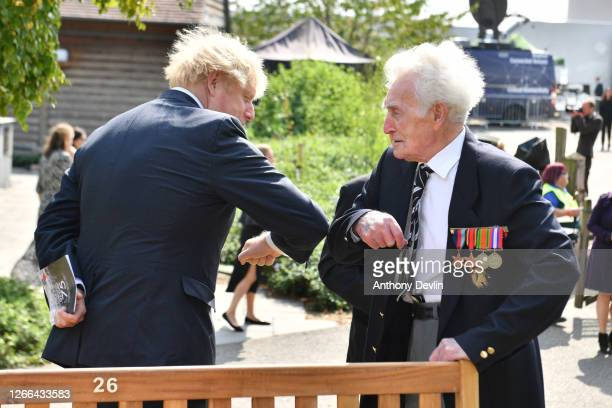Prime Minister Boris Johnson meets veterans following a national service of remembrance marking the 75th Anniversary of VJ Day at The National...