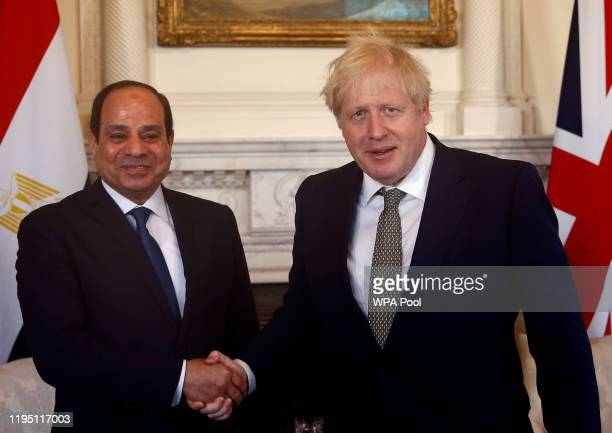 Prime Minister Boris Johnson meets with Egyptian President Abdel Fattah elSisi at 10 Downing Street on January 21 2020 in London England