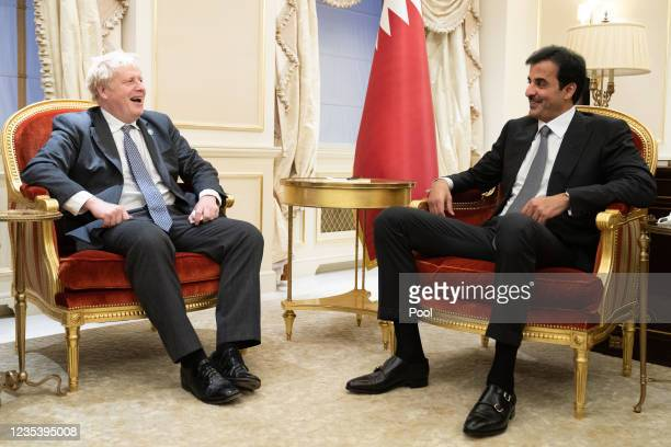 Prime Minister Boris Johnson meets with Emir of Qatar, Sheikh Tamim bin Hamad Al Thani during the United Nations General Assembly in New York on...