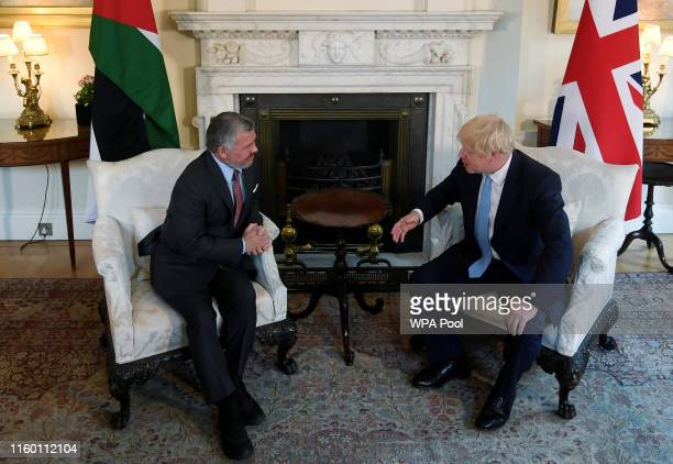 Prime Minister Boris Johnson meets with King Abdullah II of Jordan in 10 Downing Street on August 7, 2019 in London, England.