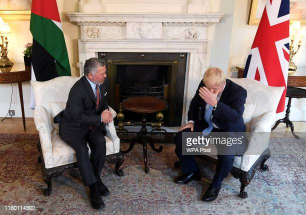 Prime Minister Boris Johnson meets with King Abdullah II of Jordan in 10 Downing Street on August 7 2019 in London England