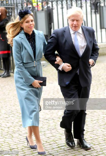 Prime Minister Boris Johnson MP and Carrie Symonds attend the Commonwealth Day Service 2020 at Westminster Abbey on March 09 2020 in London England...