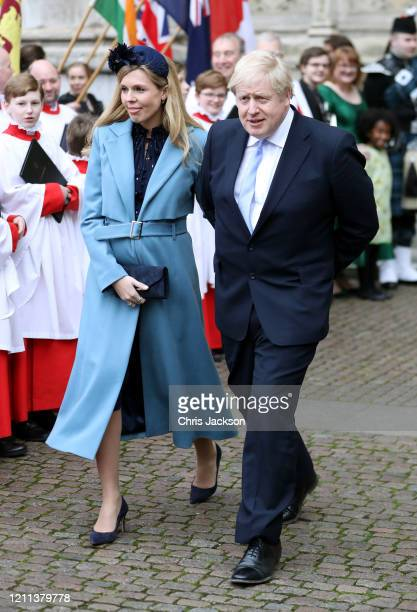 Prime Minister Boris Johnson MP and Carrie Symonds depart the Commonwealth Day Service 2020 at Westminster Abbey on March 09 2020 in London England...
