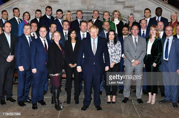 Prime Minister Boris Johnson poses with newly-elected Conservative MPs at the Houses of Parliament on December 16, 2019 in London, England. Boris...