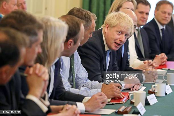 Prime Minister Boris Johnson presides over his first Cabinet meeting at 10 Downing Street on July 25 2019 in London England Britain's New Prime...