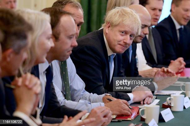 Prime Minister Boris Johnson presides over his first Cabinet meeting at 10 Downing Street on July 25, 2019 in London, England. Britain's New Prime...