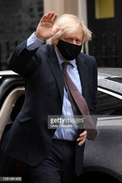 Prime minister Boris Johnson returns from the House of Commons to Downing Street on March 3, 2021 in London, England. The Chancellor, Rishi Sunak,...