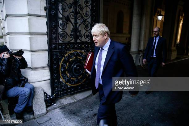 Prime Minister Boris Johnson returns to Downing Street after attending a weekly cabinet meeting on October 20 2020 in London England Boris Johnson...