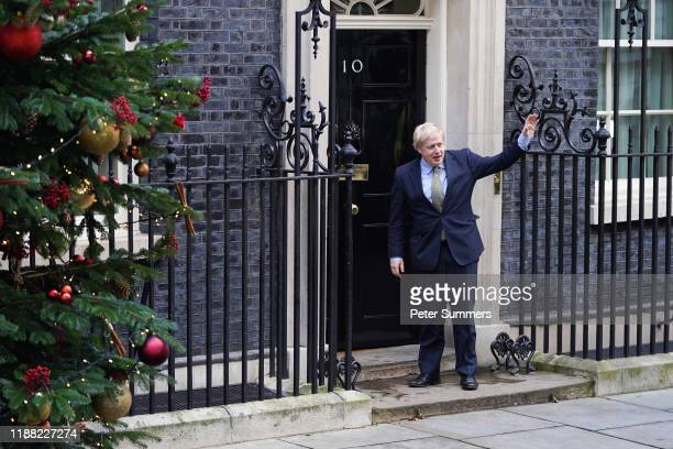 Prime Minister Boris Johnson returns to Downing Street from Buckingham Palace after he sought permission to form the next government during an...