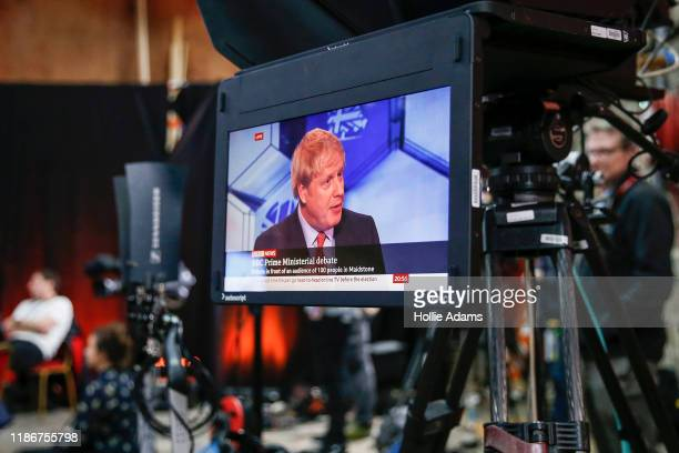 Prime Minister Boris Johnson speaking during the BBC Prime Ministerial Debate in Maidstone Studios on December 6, 2019 in Kent, England. This is the...