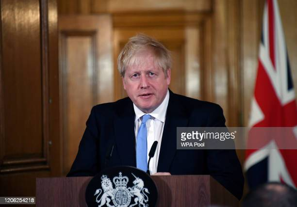Prime Minister Boris Johnson speaks and takes questions during a press conference in Downing Street regarding the coronavirus outbreak on March 9...