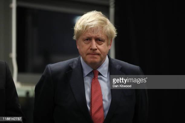 Prime Minister Boris Johnson speaks at the vote declaration for his Uxbridge and South Ruislip constituency on December 13 2019 in Uxbridge England...