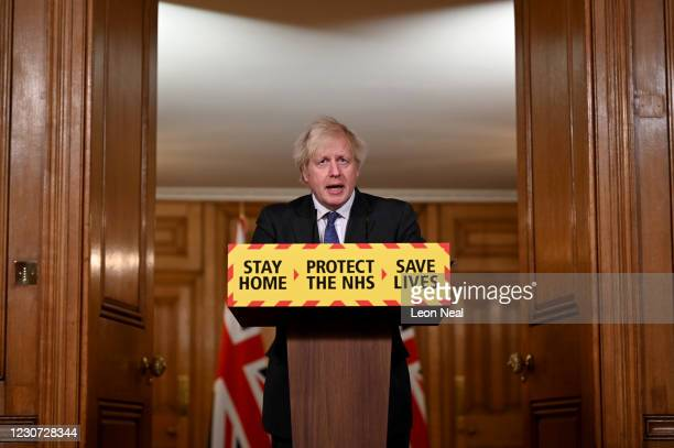 Prime Minister Boris Johnson speaks during a coronavirus press conference at 10 Downing Street on January 22, 2021 in London, England. The Prime...