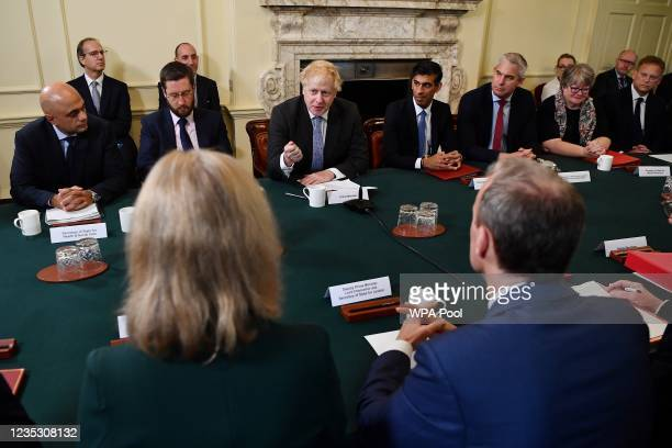 Prime minister Boris Johnson speaks during the first post-reshuffle cabinet meeting in Downing Street, on September 17, 2021 in London, England.