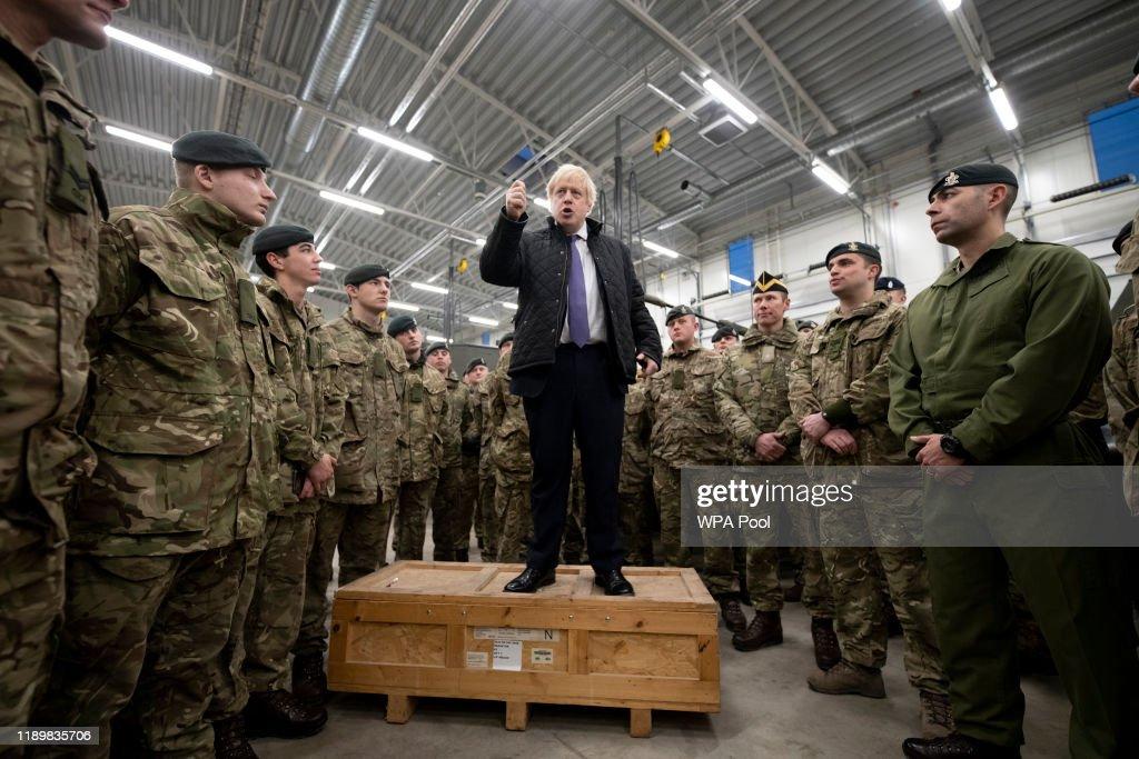 Boris Johnson Visits British Troops In Estonia : News Photo
