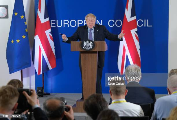 Prime Minister Boris Johnson speaks to the media at the end of the first day of a twoday summit of European Union leaders on October 17 2019 in...