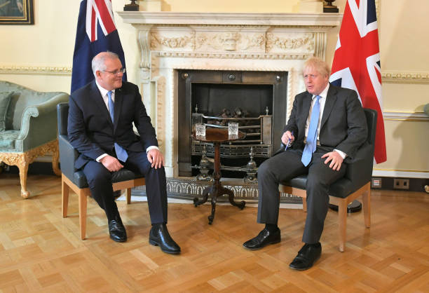 GBR: Boris Johnson Meets Australian PM At Downing Street To Tout Trade Deal