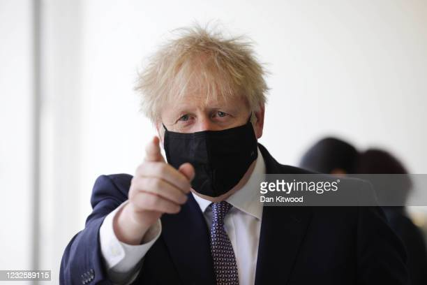 Prime Minister Boris Johnson takes part in a science lesson at King Solomon Academy in Marylebone, on April 29, 2021 in London, England.