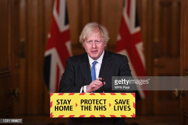 Prime Minister Boris Johnson talks during a Covid-19 media briefing in Downing Street on February 15, 2021 in London, England.