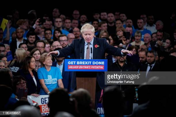 Prime Minister Boris Johnson talks onstage at the launch of the Conservative Party's General Election campaign at the National Exhibition Centre on...