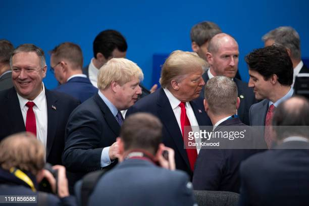 Prime Minister Boris Johnson US President Donald Trump amd Canadian Prime Minister Justin Trudeau attend the NATO summit at the Grove Hotel on...