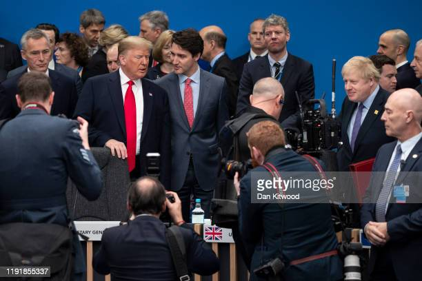 Prime Minister Boris Johnson U.S. President Donald Trump and Canadian Prime Minister Justin Trudeau attend the NATO summit at the Grove Hotel on...
