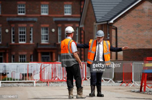 Prime Minister Boris Johnson visits a construction site on August 6 2020 in Warrington United Kingdom The Prime Minister is announcing what are...
