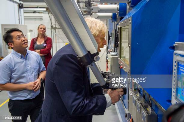 Prime Minister Boris Johnson visits the Fusion Energy Research Centre at the Culham Science Centre on August 8 2019 in Abingdon England